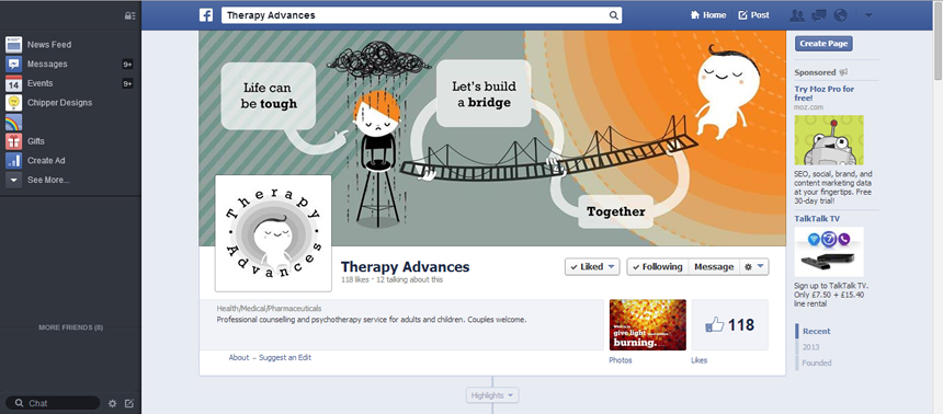Therapy Advances banner on their Facebook page